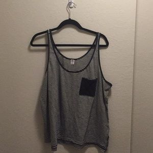 White and black striped tank top.